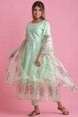 Mint Green Cotton and Organza Bell Sleeved Anarkali Suit with Floral Printed Motifs