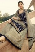 Navy Blue Jacquard Silk Floral Jaal Woven Palazzo Suit
