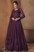 Purple Net Suit with Dori Embroidery
