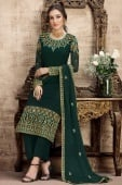 Bottle Green Georgette Embroidered Suit