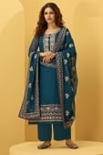 Teal Blue Georgette Stone Worked Suit